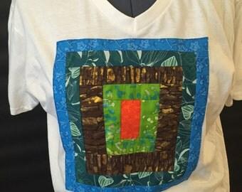 Large. V-Neck T-Shirt. African Print