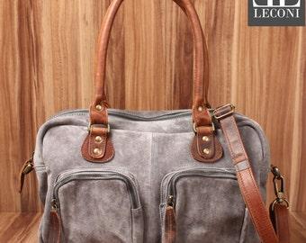 LECONI shoulder bag handbag Tote shoulder bag women's suede leather suede grey LE0046-VL