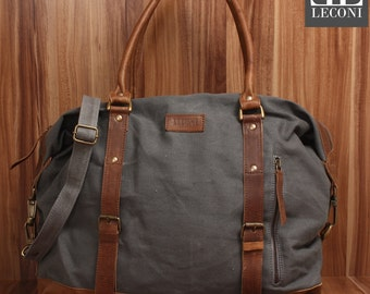LECONI small Weekender shoppers-LAN bag ladies mens leather of canvas grey LE2006-C