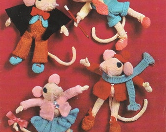 Vintage 1970s UK Toy Mice Knitting Pattern Instant Download PDF