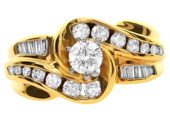 1.00 CT Natural Diamond Halo Wavy Ring in Solid 14k Yellow Gold