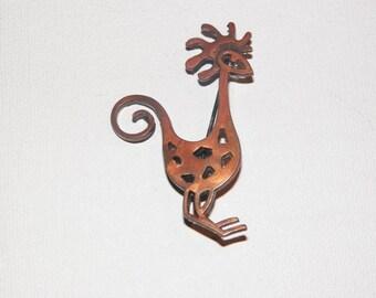 Copper Bird Brooch