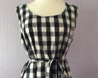 Gingham check pinafore dress