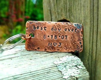 Anniversary Gift For Men - Best Day Ever Keychain - Personlized Gift - Engagement Gift - Copper Keychain - Gift For Spouse - Wedding Gift