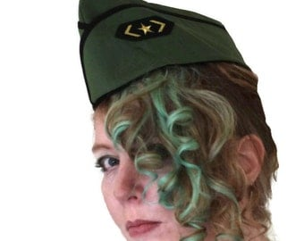 Army Hat - Military Cap - Wedge Cap - Vintage Style Hat - Pin Up Hat - Pinup Cap - Flight Hat - Garrison Cap - Military Hat