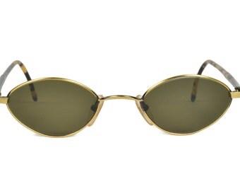 Vintage Club LA 113 Oval diamante gafas de sol de los años 90 Italia mujeres de negro antiguo oro Metal hombres NOS