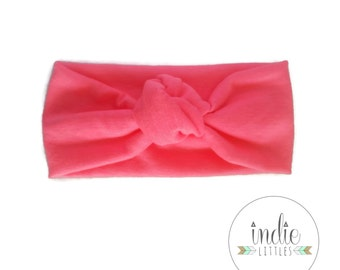 Hot Pink Knotted Headband / Knot tied Turban Headwrap / Pink Stretchy Knot Headband / Newborn Baby Girl Kids Women Children Adult