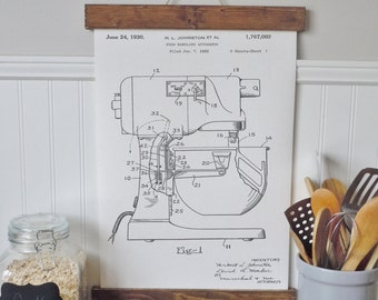 kitchen art/kitchen mixer patent art/ canvas wall art/wall art/vintage art/farmhouse/industrial