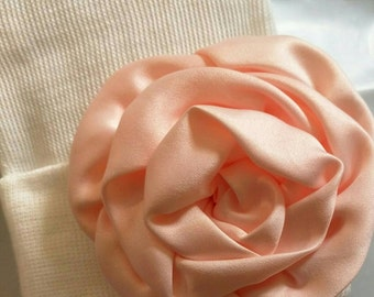 Newborn Hospital White Beanie w/ Peach Satin Flower. Hospital Beanie. Simple and Sweet. Great Gift. Perfect Going Home Hat!