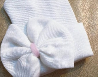 Best Seller! Newborn Hospital Hat. Our Signature Hat Now with Large Bow! COLOR CHOICE in Center of Bow. Every Baby Girl Should Have One!