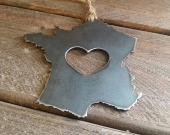 France Christmas Ornament Metal Heart Christmas Tree Ornament Holiday Gift Industrial Decor Wedding Favor By BE Creations