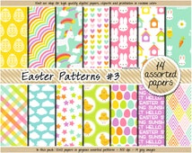SALE Easter digital paper unicorn digital paper pastel easter clipart bunny carrot chick easter egg stars heart plaid candy easter pattern
