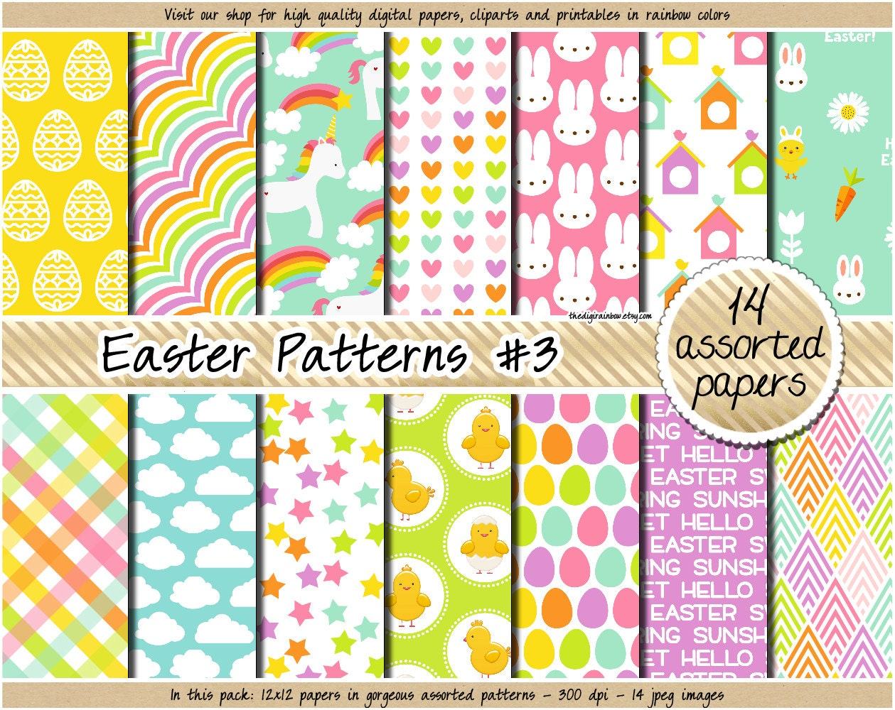 SALE Easter Digital Paper Unicorn Pastel Clipart Bunny Carrot Chick Egg Stars Heart Plaid Candy Pattern