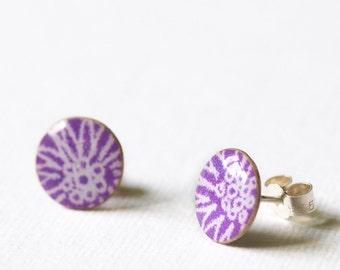 Purple stud earrings, purple earrings, paper jewellery, stud earrings, silver stud earrings, resin, sterling silver, handmade