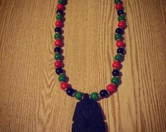 Wood Pharaoh Pendant on Mix of RBG Beads