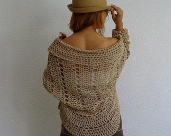 crochet cardigan, oversized cardigan, loose knit cardigan, loose knit sweater, loose crochet, shrug, taupe cardigan, M size, ready to ship