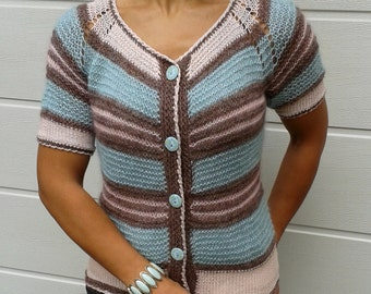 knit alpaca cardigan, loose knit, short sleeve, loose knit cardigan, silky, alpaca, striped, cardigan, knit alpaca sweater, ready to ship
