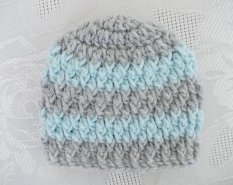 Crochet baby hat Gray and  blue baby hat Baby boy hat Newborn boy hat Newborn winter hat Striped baby hat Hospital hat Baby boy beanie