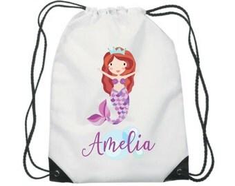 Personalised mermaid swim bag /  pump bag /  gym bag / school bag / PE bag / kids / children