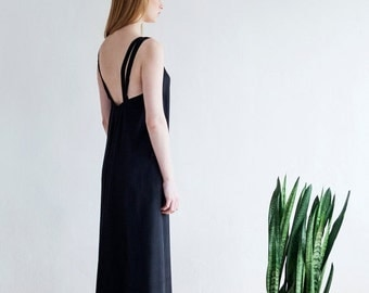 Christmas  in July Black Maxi Dress,Summer Dress,Women Dress,Long Dress,Black Evening Dress