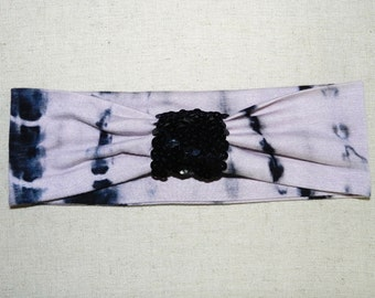 Tie Dye Sequin Head Wrap, Tie Dye Sequin Headband, Black Sequin Headwrap, Black Sequin Headband