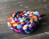 TANGERINE DREAM color spinning fiber, Organic, Polwarth, silk, roving, spinning, handpainted, hand dyed, top, wool