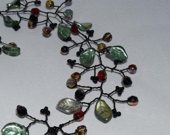 Black Tree branch, branched necklace, leaf necklace, flower with leaves necklace, tree branch necklace