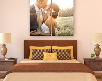 Personal Wedding Nature Pet Photo Printed on Split Quad Four Panel Canvas
