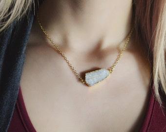 Druzy necklace, Druzy, genuine druzy, gold plated, agate