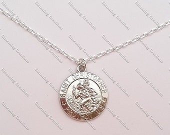 St SAINT CHRISTOPHER Rhodium Plated PENDANT Patron Saint of Travellers Hung on a 925 Sterling Silver Cable Necklace Chain.