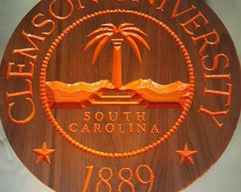 Clemson University engraved wall art / custom engraved wood