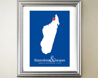 Madagascar Custom Vertical Heart Map Art - Personalized names, wedding gift, engagement, anniversary date