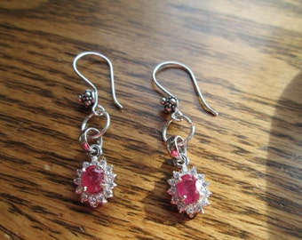 Handcrafted 1.82ctw Genuine Ruby and White Sapphire 925 Sterling Silver Drop/Dangle Earrings, Flowered Ear Wires, 3.8 Grams