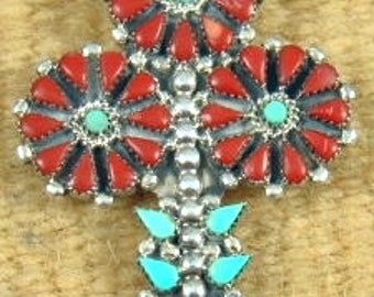 Lg Zuni 37pc Turquoise Coral Potted Flower Pin/Pendant by K.BOBELU-Item # 672T