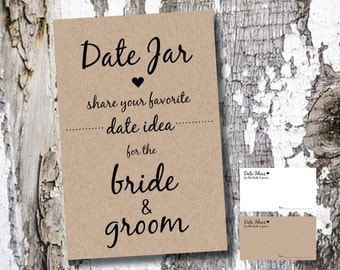 25 Date Night Jar Cards & Sign / White or Kraft