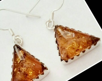 Baltic Amber Gemstone 925SS solid sterling silver Earrings. Ships Free  and free gift bag. 30 day guarantee.