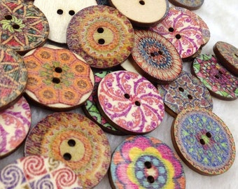 New 40pcs Flowwers Wood Buttons 25mm Sewing Craft Mix Lots WB264