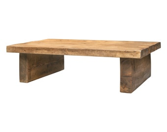 Coffee Table made from Chunky Solid Wood with a Choice of Different Rustic Wax Finish Colours and Sizes Low 2 Inch Top 2 Leg