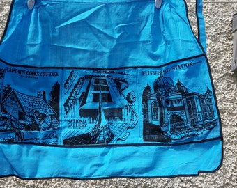 Apron small half apron souvenir from Melbourne blue with black designs