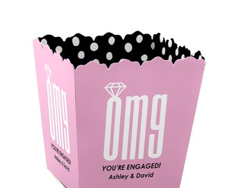 OMG, You're Getting Married - Small Personalized Engagement Party Candy Boxes - Personalized for Bridal Shower Party Supplies - Set of 12