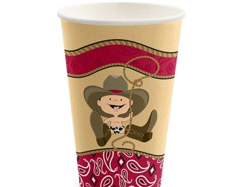 8 Count - Little Cowboy - Western Hot/Cold Cups - Baby Shower or Birthday Party Supplies