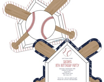 Batter Up! Baseball Custom Invitations - Printed Personalized Birthday Party Supplies - Set of 12