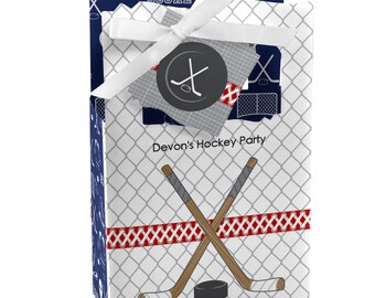 Shoots & Scores! - Hockey Favor Boxes - Custom Birthday Party and Baby Shower Supplies - Set of 12