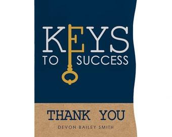 12 Grad Keys to Success Graduation Thank You Cards - Graduation Party Supplies