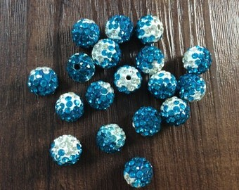 10 pcs  Gradient Polymer Clay Shamballa Beads Paved Crystal B106572