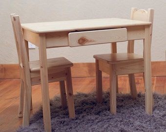 Cheap Kidus Table And Chair Set Kids Furniture Toddler Furniture Unfinished  Wood Furniture With Wooden Kid Table And Chairs
