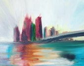 Abstract Brooklyn, New York Original Oil Painting