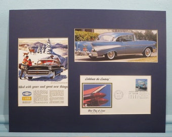 The 1957 Chevy Bel Air & First day Cover of the stamp honoring 1950 Auto design