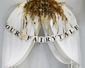Wooden wedding banner, Rustic wedding sign, Our Fairytale wedding decor, wedding sign, wooden custom banner, wedding garland