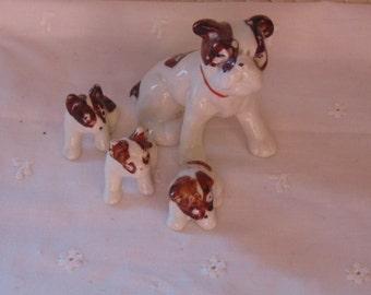 Ceramic Mama Dog, 3 Puppies, Made In Japan, Nursery Decor, Dog Collector, Holiday Decor